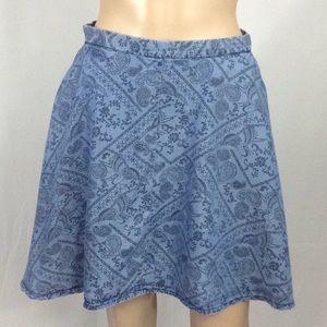 Paisley Bird Swing Skirt w/ Pockets In Small